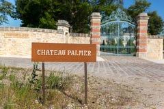 BORDEAUX, FRANKRIJK - MEI 2014: Ingang van Chateau Palmer - één o Stock Afbeelding