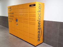 Bordeaux. Gironde / France - 10-26-2018 : Amazon Locker Delivery Store self-service delivery location to pick up and return royalty free stock photos