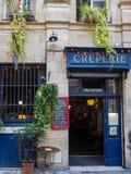 BORDEAUX, GIRONDE/FRANCE - 21. SEPTEMBER: Creperie offen für Busi lizenzfreies stockbild