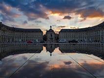BORDEAUX GIRONDE/FRANCE - SEPTEMBER 20: Miroir d'Eau på stället Royaltyfria Bilder
