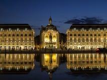 BORDEAUX GIRONDE/FRANCE - SEPTEMBER 20: Miroir d'Eau på stället Royaltyfria Foton