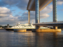 BORDEAUX, GIRONDE/FRANCE - SEPTEMBER 18 : New Lift Bridge Jacques Chaban-Delmas Spanning the River Garonne at Bordeaux on stock photography