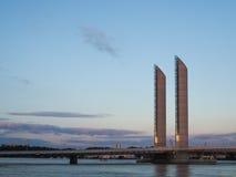 BORDEAUX GIRONDE/FRANCE - SEPTEMBER 18: Ny elevatorbro Jacque Royaltyfri Foto