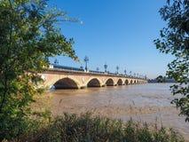 BORDEAUX, GIRONDE/FRANCE - 21 SEPTEMBRE : Pont de Pierre (Peter Image libre de droits