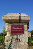 Bordeaux. Grands crus classes. Street sign grand crus classes with wine in background. Bordeaux, Gironde, France stock image