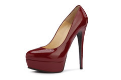 Bordeaux high heeled shoes Stock Photos