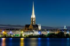 Bordeaux la nuit noir été Images libres de droits