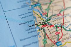 Bordeaux on map Royalty Free Stock Images