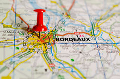 Bordeaux on map. Close up shot of Bordeaux France on a map with red push pin royalty free stock image