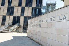 Bordeaux Nouvelle aquitaine/Frankrike - 09 02 2018: Ecole nationale de la magistrature i Bordeaux betyder den höga nationella sko arkivbilder