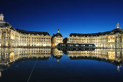 Bordeaux place. Place de la Bourse, of Bordeaux with reflectance from the water, France royalty free stock images