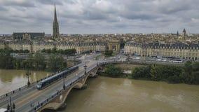 Bordeaux, Pont de pierre, old stony bridge in Bordeaux in a beautiful summer day royalty free stock photo