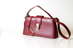 Bordeaux purse and jewerly Stock Photo