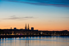 Bordeaux, the quays, in the distance the two bell-towers of the cathedral Saint André Stock Photo
