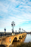 Bordeaux river bridge with St Michel cathedral Royalty Free Stock Photography