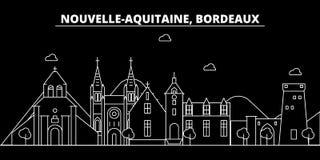 Bordeaux silhouette skyline. France - Bordeaux vector city, french linear architecture, buildings. Bordeaux travel royalty free illustration
