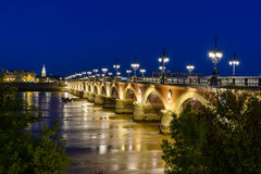 Bordeaux stone bridge over Garonne river Stock Photo
