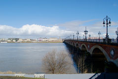 Bordeaux view with bridge. With blue sky in winter stock images