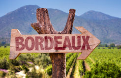Bordeaux wooden sign with winery background Royalty Free Stock Photography