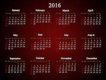 Bordeauxkalender voor de Amerikaanse variant van 2016 Royalty-vrije Stock Fotografie
