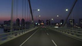 Bordeigen - Morgen-Tokyo-Bucht-Bereich gesehen von der Regenbogen-Brücke stock video footage