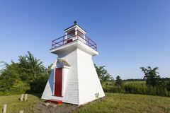 Borden Wharf Lighthouse in the Bay of Fundy. Nova Scotia, Canada Stock Images