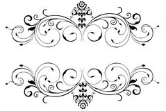 Border. An Illustration of a Floral Border Silhouetted on White Background Stock Photo