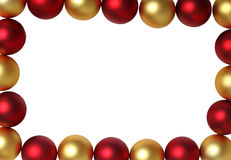 Border. Of Golden and Red Christmas Balls with Space for a Message Royalty Free Stock Image