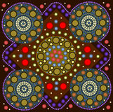 Border. A illustration based on aboriginal style of dot painting depicting a border Royalty Free Stock Photography