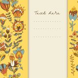 Border with abstract hand-drawn flowers Royalty Free Stock Images