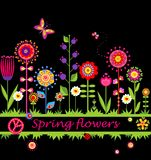 Border with abstract spring flowers Stock Photo