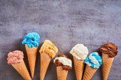 Border of assorted flavours of gourmet ice cream royalty free stock image
