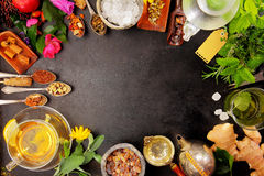 Border of assorted herbs, flowers and spices Stock Photo