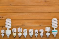 Border of assorted sized spiral light bulbs Stock Photos