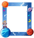 Border with astronaut and solar system Royalty Free Stock Photo