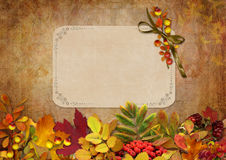 Border with autumn leaves, berries and card on a vintage background Royalty Free Stock Image