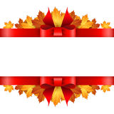 Border of autumn maples leaves decorated with a red bow. Royalty Free Stock Image