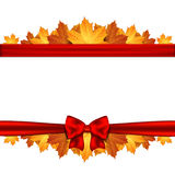 Border of autumn maples leaves decorated with a red bow. Royalty Free Stock Photography