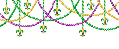 Border with beads. Mardi gras horizontal seamless border with beads