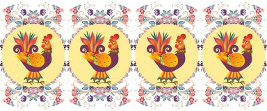 Border with beautiful cockerels on medallions. Vector illustration Royalty Free Stock Photo