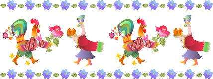 Border with beautiful flowers, fairy ducks and cocks. Vector illustration. Year of the rooster. 2017. Cute cartoon birds Stock Images