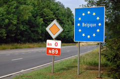 Border of Belgium. Border between France and Belgium - Road sign indicating the border of a European Union country: Belgium Stock Photos