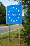 Border of Belgium. Border between France and Belgium - Road sign indicating the border of a European Union country Stock Photography
