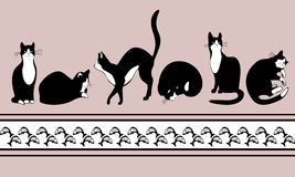 Border with black cats and fish. Band with cats Stock Image