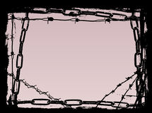 Border of Black Chains 2. Vector Border Graphic with grunge elements black chains and barbed wire vector illustration