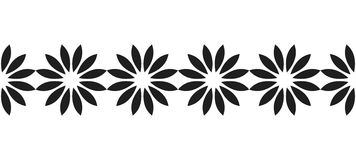 Border of black silhouetted flowers for decoration, scrapbooking, greeting cards Royalty Free Stock Photo