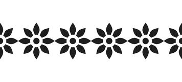Border of black silhouetted flowers for decoration, scrapbooking, greeting cards. Decorative border of black silhouetted flowers for decoration, scrapbooking Stock Images