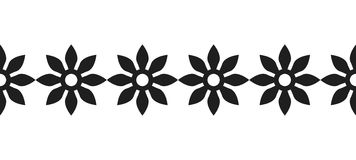 Border of black silhouetted flowers for decoration, scrapbooking, greeting cards. Decorative border of black silhouetted flowers for decoration, scrapbooking Royalty Free Stock Image