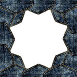Border blue jeans pocket isolated. On white background with copy space for text royalty free stock image