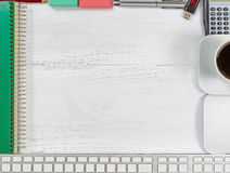 Border of business objects on white wood Royalty Free Stock Photos
